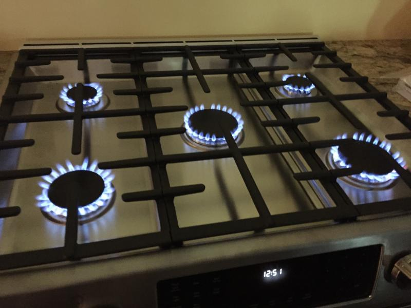 Gas range installation